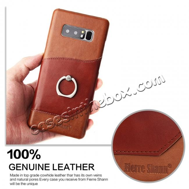 cheap Genuine Real Leather Buckle Ring Back Case Cover for Samsung Galaxy Note 8 - Brown