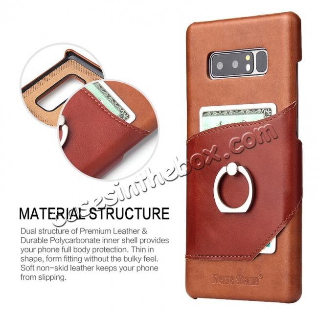 top quality Genuine Real Leather Buckle Ring Back Case Cover for Samsung Galaxy Note 8 - Brown