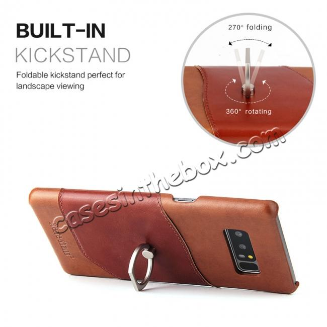 best price Genuine Real Leather Buckle Ring Back Case Cover for Samsung Galaxy Note 8 - Brown