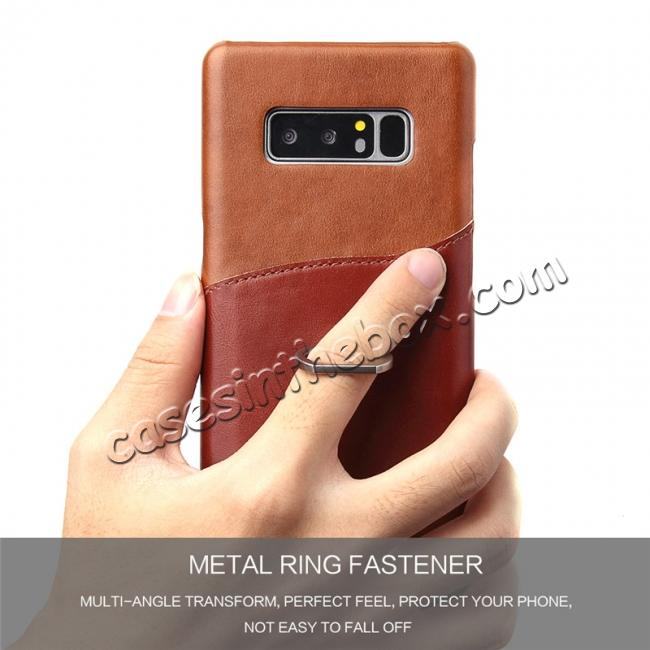 on sale Genuine Real Leather Buckle Ring Back Case Cover for Samsung Galaxy Note 8 - Brown
