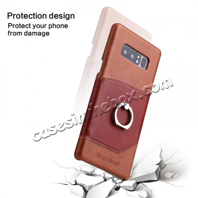 low price Genuine Real Leather Buckle Ring Back Case Cover for Samsung Galaxy Note 8 - Brown