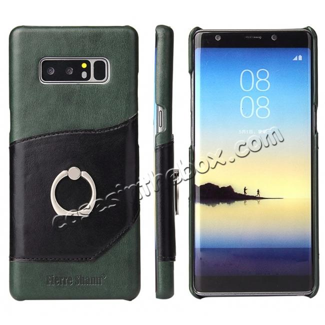 wholesale Genuine Real Leather Buckle Ring Back Case Cover for Samsung Galaxy Note 8 - Green