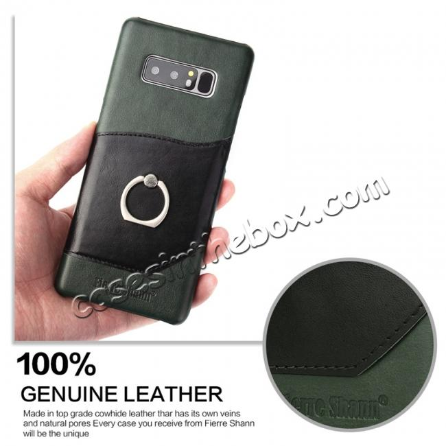 cheap Genuine Real Leather Buckle Ring Back Case Cover for Samsung Galaxy Note 8 - Green