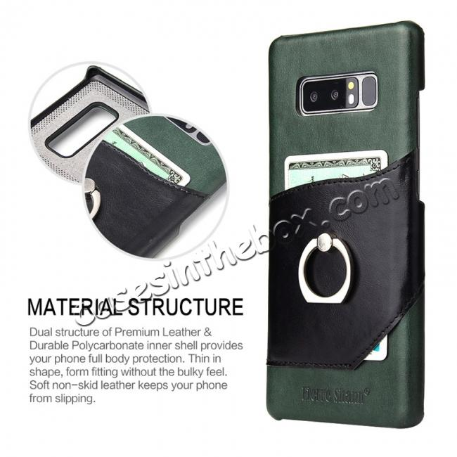 top quality Genuine Real Leather Buckle Ring Back Case Cover for Samsung Galaxy Note 8 - Green