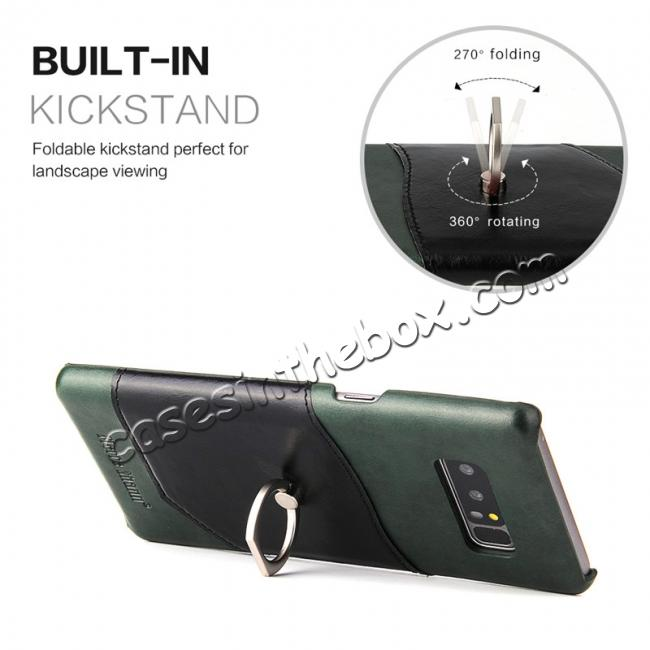 best price Genuine Real Leather Buckle Ring Back Case Cover for Samsung Galaxy Note 8 - Green