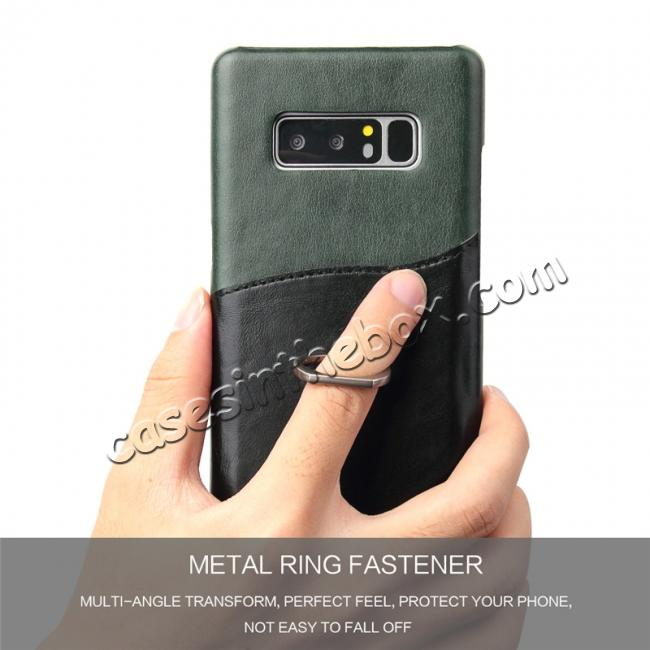 on sale Genuine Real Leather Buckle Ring Back Case Cover for Samsung Galaxy Note 8 - Green