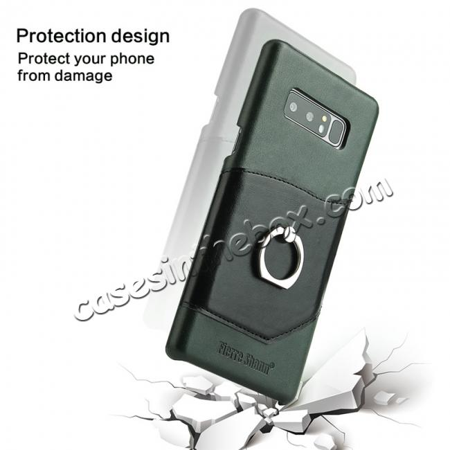 low price Genuine Real Leather Buckle Ring Back Case Cover for Samsung Galaxy Note 8 - Green