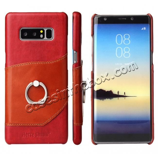wholesale Genuine Real Leather Buckle Ring Back Case Cover for Samsung Galaxy Note 8 - Red