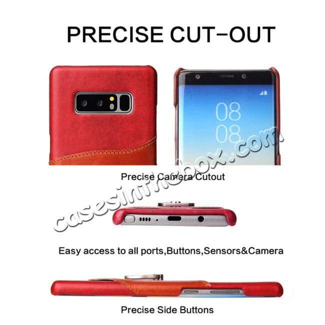 discount Genuine Real Leather Buckle Ring Back Case Cover for Samsung Galaxy Note 8 - Red