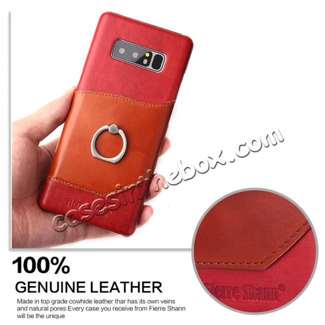 cheap Genuine Real Leather Buckle Ring Back Case Cover for Samsung Galaxy Note 8 - Red