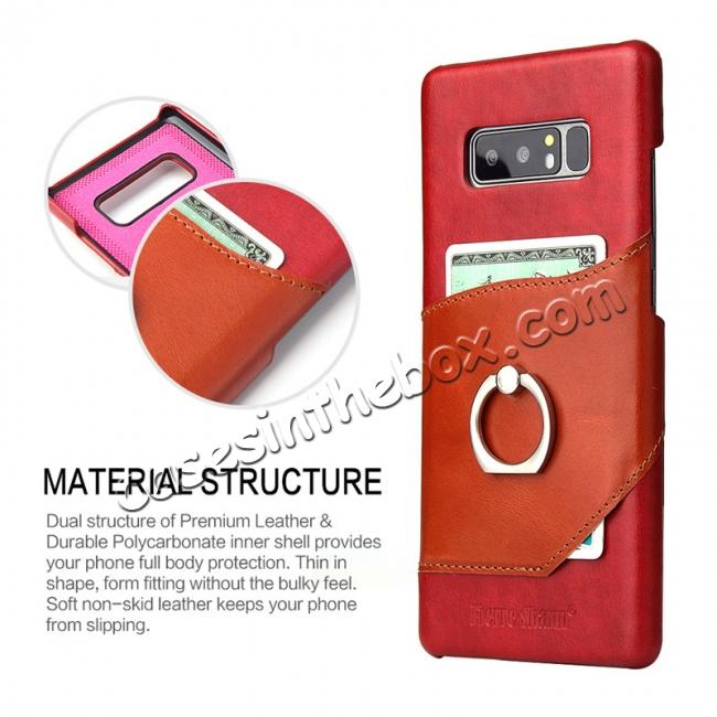 top quality Genuine Real Leather Buckle Ring Back Case Cover for Samsung Galaxy Note 8 - Red