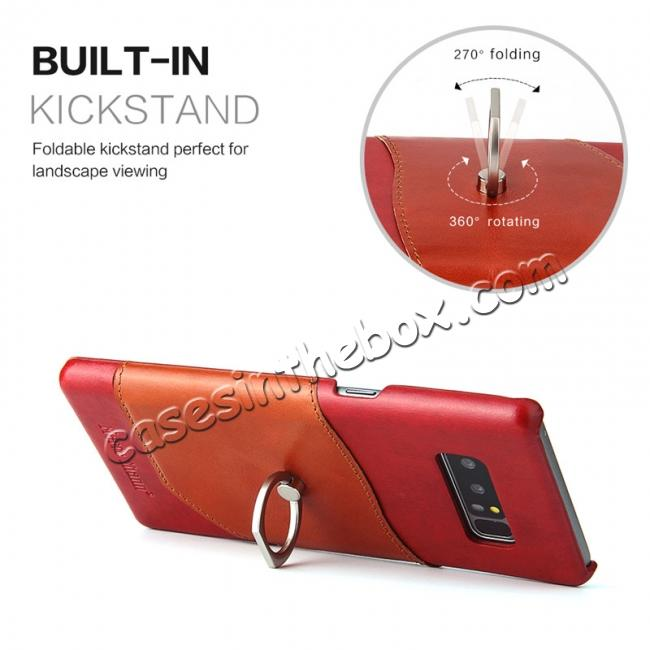 best price Genuine Real Leather Buckle Ring Back Case Cover for Samsung Galaxy Note 8 - Red
