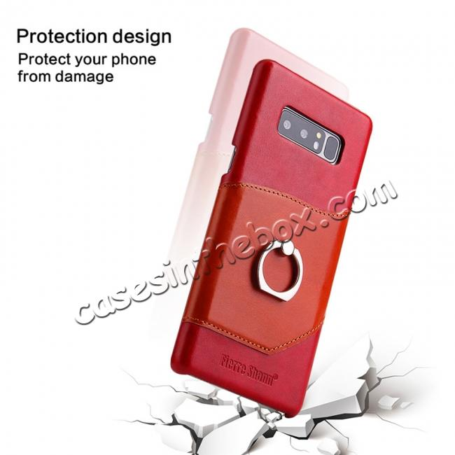 low price Genuine Real Leather Buckle Ring Back Case Cover for Samsung Galaxy Note 8 - Red
