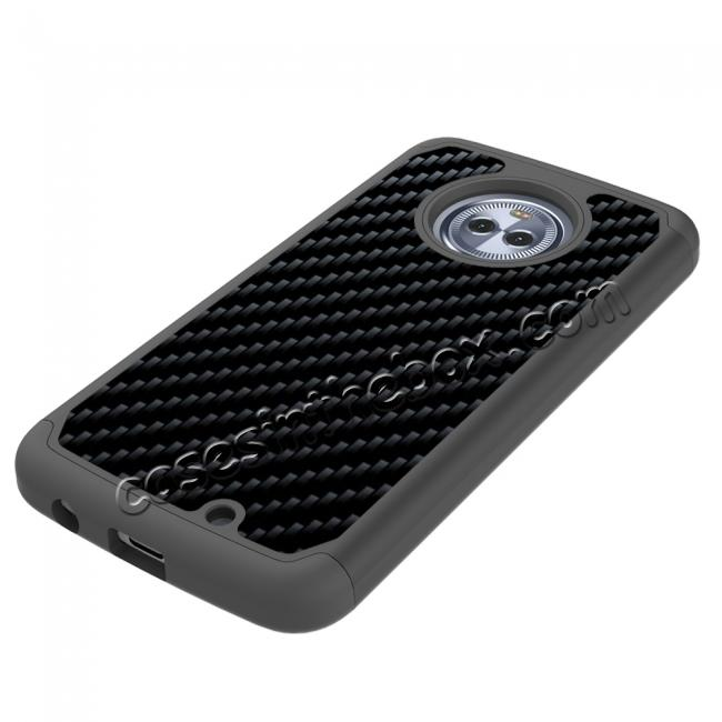 cheap Hybrid Dual Layer Shockproof Carbon Fiber Design Protective Case For Motorola MOTO X4 - Black