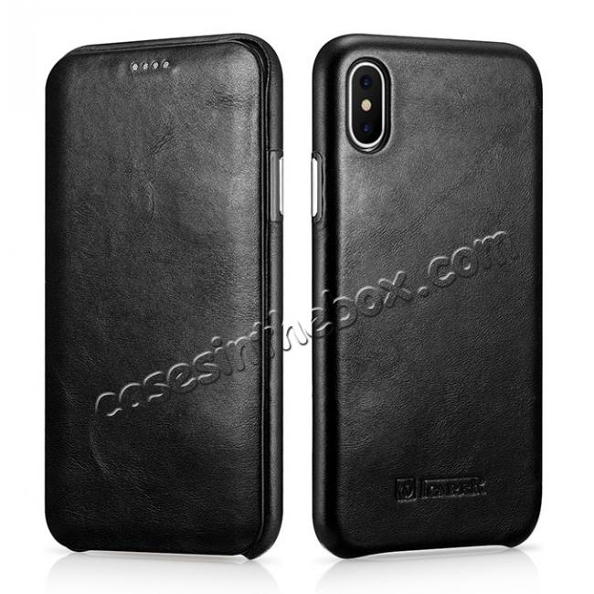 wholesale ICARER Curved Edge Vintage Series Genuine Leather Flip Case For iPhone X - Black