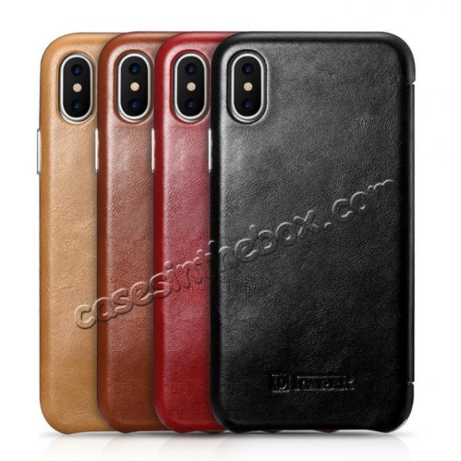 low price ICARER Curved Edge Vintage Series Genuine Leather Flip Case For iPhone X - Black