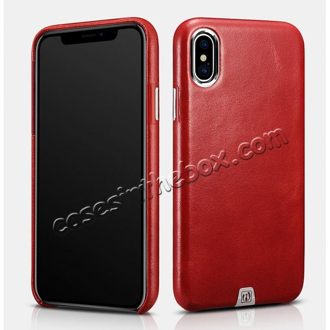 wholesale ICARER Genuine Leather Back Case Cover for iPhone X - Red