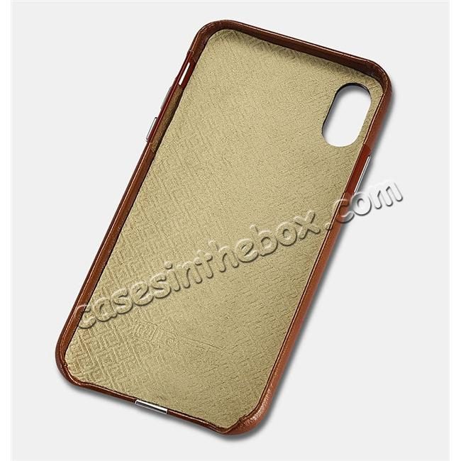 discount ICARER Genuine Leather Back Case Cover for iPhone X - Khaki