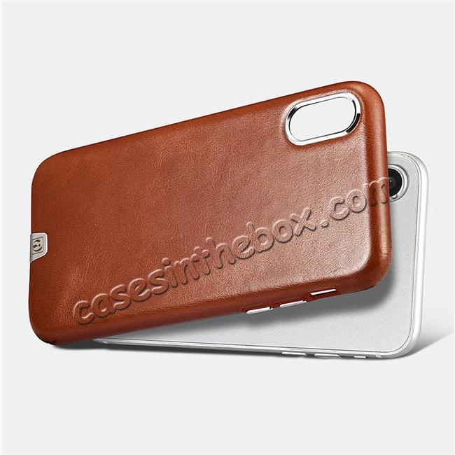 cheap ICARER Genuine Leather Back Case Cover for iPhone X - Khaki