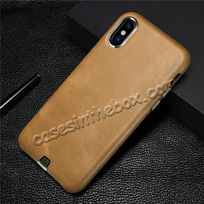 best price ICARER Genuine Leather Back Case Cover for iPhone X - Khaki