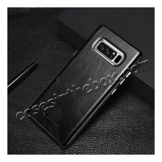 galaxy note 8 case leather,discount ICARER Genuine Real Leather Back Case Cover For Samsung Galaxy Note 8 - Black