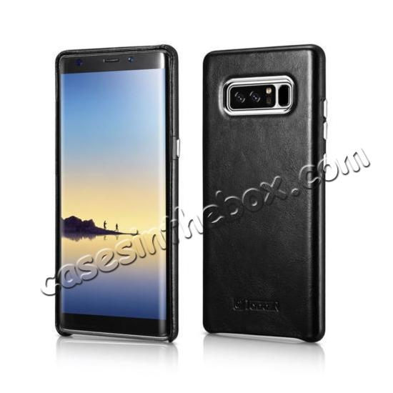 benuo galaxy note 8 leather case,wholesale ICARER Genuine Real Leather Back Case Cover For Samsung Galaxy Note 8 - Black