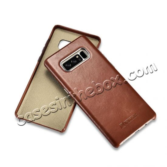leather phone case for note 8,low price ICARER Genuine Real Leather Back Case Cover For Samsung Galaxy Note 8 - Black