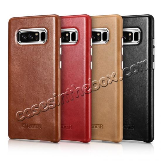 China leading wholesale ICARER Genuine Real Leather Back Case Cover For Samsung Galaxy Note 8 - Khaki