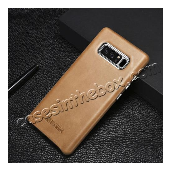 best note 8 case leather,discount ICARER Genuine Real Leather Back Case Cover For Samsung Galaxy Note 8 - Khaki
