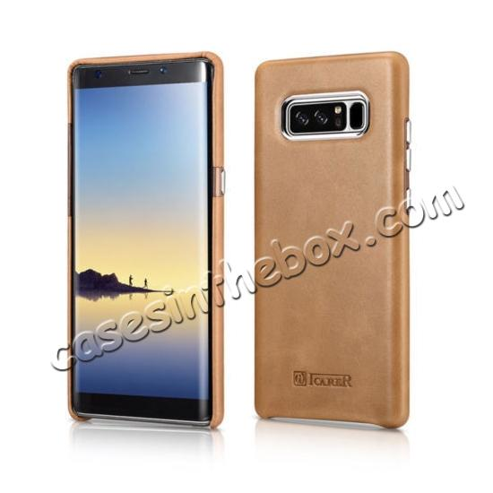 leather case for samsung note 8,wholesale ICARER Genuine Real Leather Back Case Cover For Samsung Galaxy Note 8 - Khaki