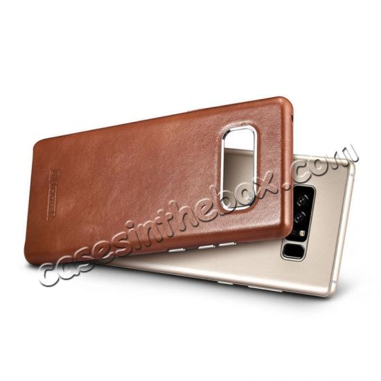 note 8 cases leather,low price ICARER Genuine Real Leather Back Case Cover For Samsung Galaxy Note 8 - Khaki