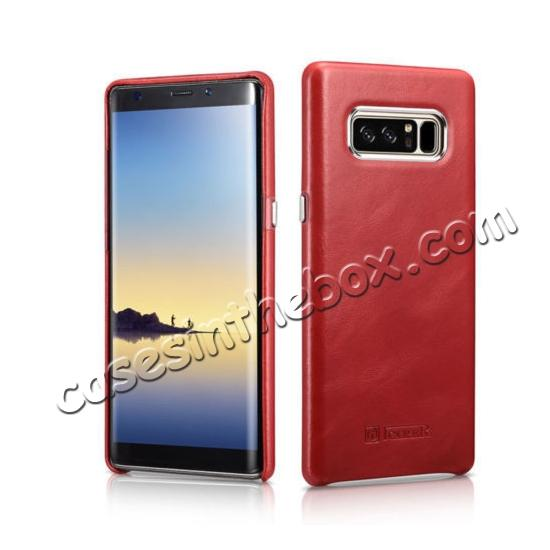 samsung note 8 genuine leather case,wholesale ICARER Genuine Real Leather Back Case Cover For Samsung Galaxy Note 8 - Red