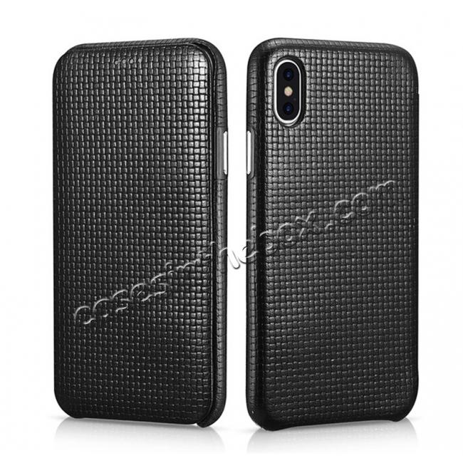 wholesale ICARER Woven Pattern Series Curved Edge Real Leather Folio Case for iPhone X - Black
