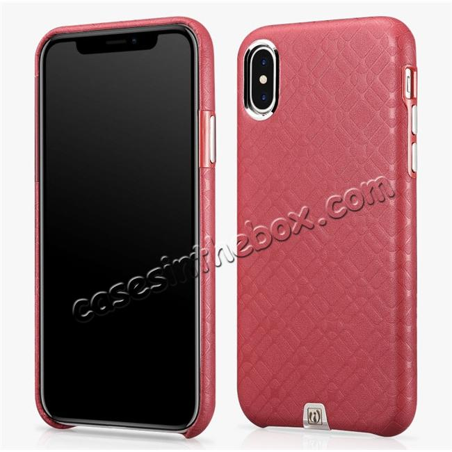 wholesale Luxury Real Genuine Leather Back Case Cover for iPhone X - Red