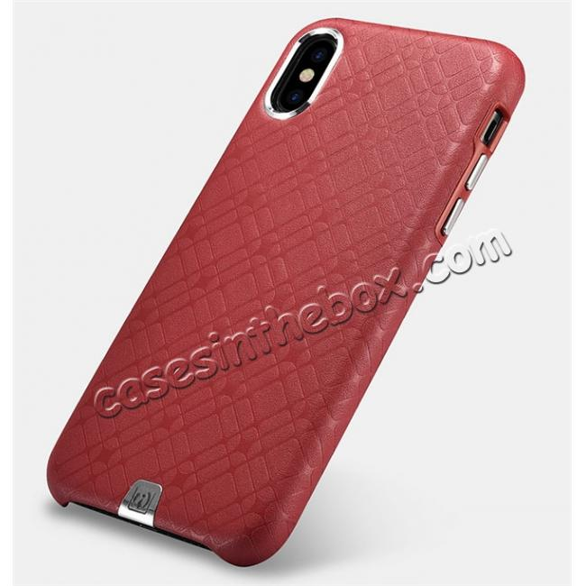 cheap Luxury Real Genuine Leather Back Case Cover for iPhone X - Red