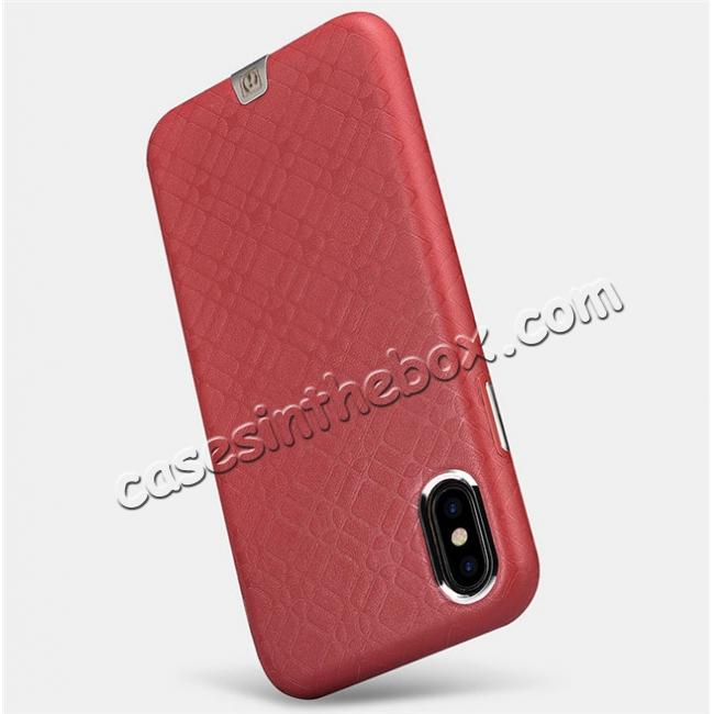 top quality Luxury Real Genuine Leather Back Case Cover for iPhone X - Red