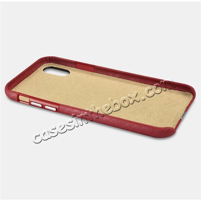best price Luxury Real Genuine Leather Back Case Cover for iPhone X - Red