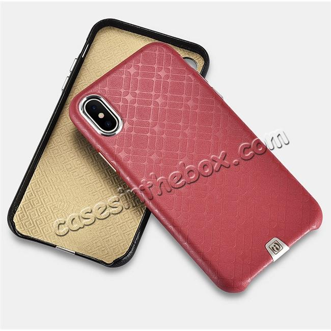 on sale Luxury Real Genuine Leather Back Case Cover for iPhone X - Red