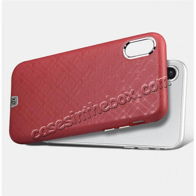 low price Luxury Real Genuine Leather Back Case Cover for iPhone X - Red