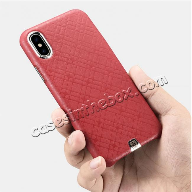high quanlity Luxury Real Genuine Leather Back Case Cover for iPhone X - Red
