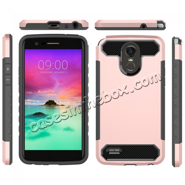 discount Carbon Fiber Design Rugged Armor Protective Defender Case For LG Stylo 3 / Stylo 3 Plus - Rose gold