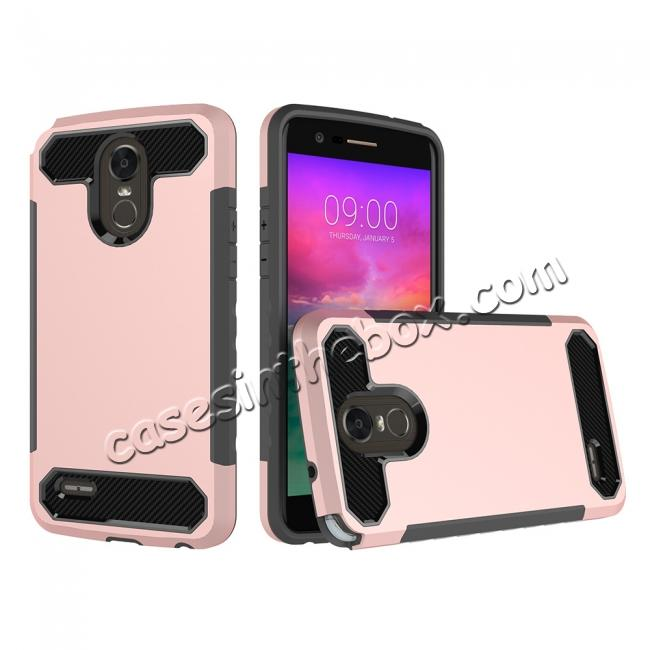 wholesale Carbon Fiber Design Rugged Armor Protective Defender Case For LG Stylo 3 / Stylo 3 Plus - Rose gold