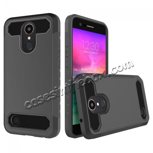 wholesale Carbon Fiber Design Rugged Armor Shockproof Protective Case Cover For LG K20 Plus / K20 V - Black
