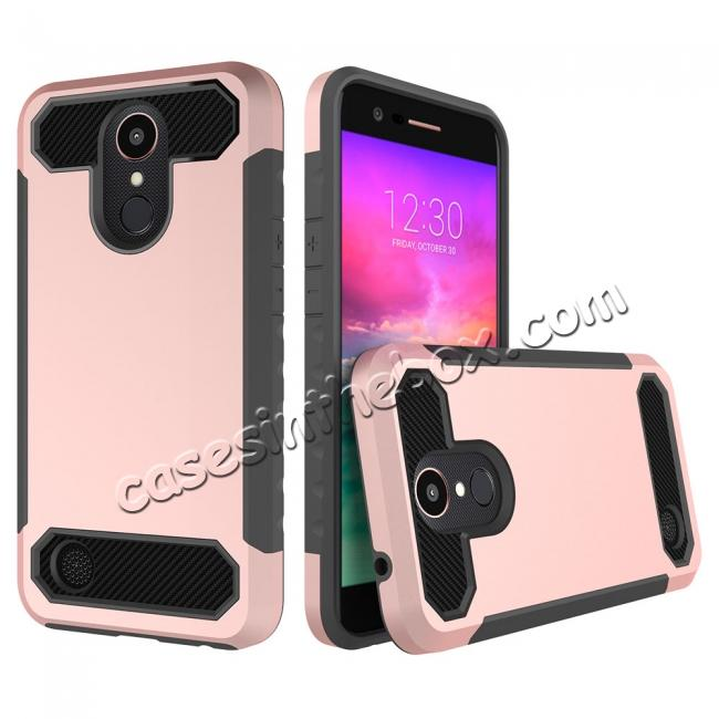 wholesale Carbon Fiber Design Rugged Armor Shockproof Protective Case Cover For LG K20 Plus / K20V - Rose gold