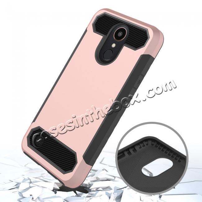 top quality Carbon Fiber Design Rugged Armor Shockproof Protective Case Cover For LG K20 Plus / K20V - Rose gold