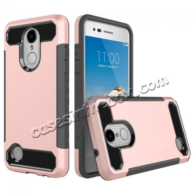 wholesale Carbon Fiber Design Rugged Armor Shockproof Protective Case for LG Aristo / K8 (2017) - Rose gold