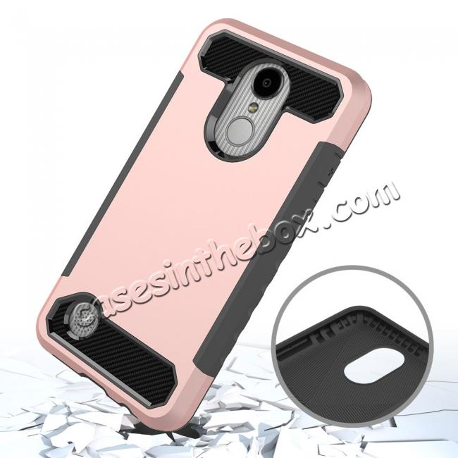 cheap Carbon Fiber Design Rugged Armor Shockproof Protective Case for LG Aristo / K8 (2017) - Rose gold