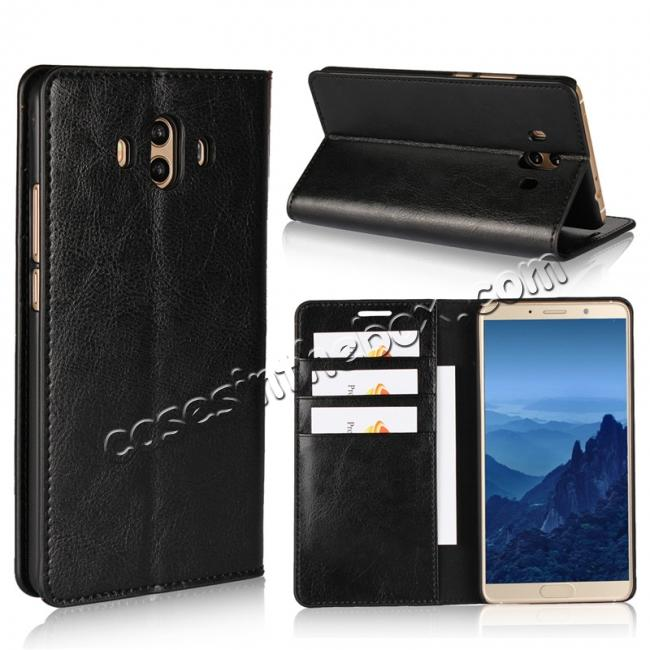 wholesale Crazy Horse Genuine Leather Case Wallet Flip Stand Cover Card Slot  for Huawei Mate 10 - Black