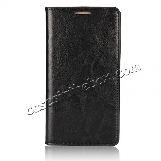 discount Crazy Horse Genuine Leather Case Wallet Flip Stand Cover Card Slot  for Huawei Mate 10 - Black