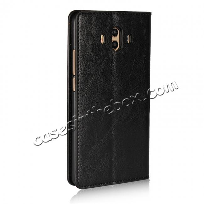cheap Crazy Horse Genuine Leather Case Wallet Flip Stand Cover Card Slot  for Huawei Mate 10 - Black